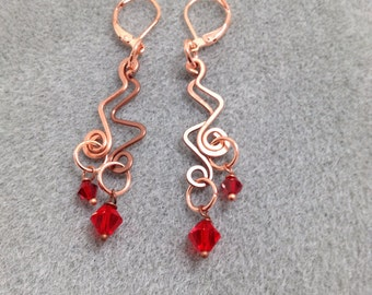 Hand formed and hammered copper wire earring