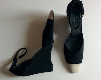 Jil Sander black and white suede wedges