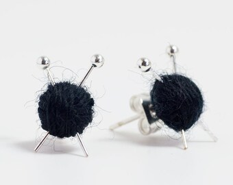 Black Wool knitting earrings - yarn ball and needles