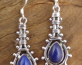 Earrings lapis lazuli gemstone, lapis lazuli, natural stone jewelry, AJE3.5 jewels