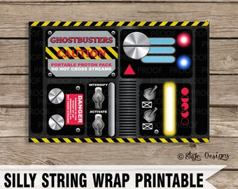 "Ghostbusters Themed ""Portable Proton Pack"" Party Favor Label Printables [INSTANT DOWNLOAD]"