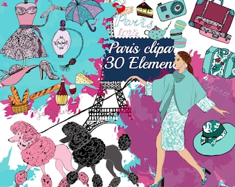 """Paris Girl Clipart: """"PLANNER CLIPART"""" Girly clipart,Fashion clipart,Sticker graphic,Puddle clipart,macaroons clipart,eiffel tower,Parfume"""
