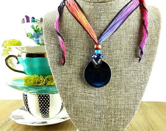 Cosmic Rainbow Ceramic Necklace: Nebula Necklace/ Galaxy Necklace/ Space Necklace/ Handmade Necklace/ Star Necklace/ Bohemian Jewelry