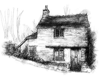 Bibury cottage | Limited edition fine art print from original drawing. Free shipping.