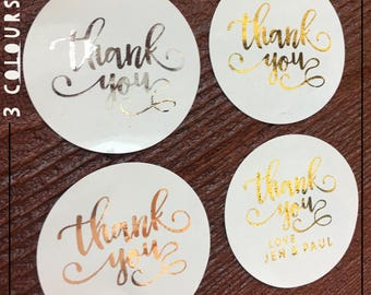 Thank You Foil Stickers Can Personalise x 24 round 45mm Gloss label in Gold, Rose Gold, Silver or Matt black - Wedding | Favours | Metallic