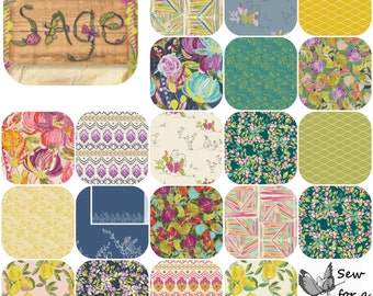 Fat Quarter Bundle(20) SAGE by Bari J for Art Gallery Fabrics