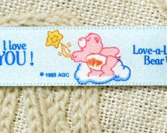 "Vintage Light Blue Satin Ribbon with Love-A-Lot Bears/CARE BEARS - 5/8"" by 1 yard 8 inches"