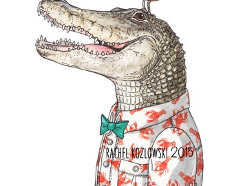 Mr. Alligator with Plover Friend - Archival Print