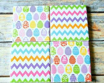 Easter Coasters – Easter Gift for Her – Drink Coasters – Spring Coasters – Ceramic Tile Coasters – Easter Kitchen Decor – Table Coasters