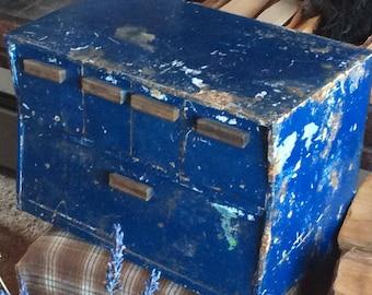 METAL CABINET BOX vintage cubby storage, chippy blue paint, unique shape, drawers, industrial utility, office, kitchen