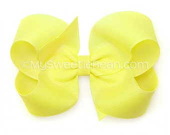 Light Yellow Hair Bow, Maize Boutique Bow, Buttercup, Pale Yellow, 4 inch Grosgrain Bows for Girls, Baby Toddler Girls