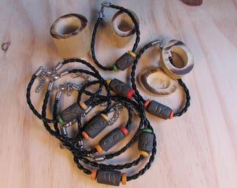 Bracelet Zodiac, Zodiac ceramic bead and wooden beads leather cord