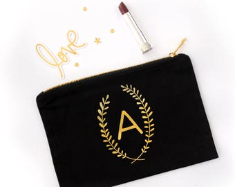 Initials Laurel Personalized Cosmetic Bag // Personalized Laurel Initial Makeup Bag //Clutch with Laurel Initials / Gold or Silver Foil