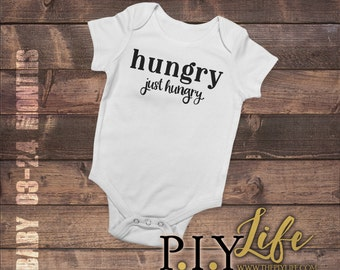 Baby | Hungry Just Hungry Baby Bodysuit DTG Printing on Demand
