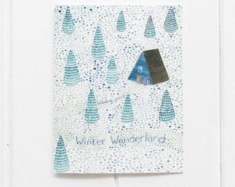 Winter Wonderland Holiday Card / Christmas Card / A Frame Cabin Card / Cabin Christmas Card / Ski Chalet Christmas Card / Outdoors Holiday