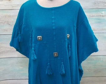 Blue Upcycled Top Bohemian Clothing Women's Tunic Hippie Clothes Boho Shirt Recycled Clothing Eco Friendly Shabby Clothes SZ  2XL-3XL