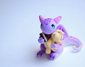 Clay Dragon Cute Purple Mini Sculpture