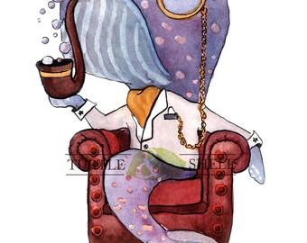 Custom Watercolor Gentleman Whale 8x10 Print