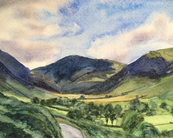 Lake District, Newlands Valley, Cumbria, English landscape, English mountains, England, English watercolor, landscape watercolor, valley