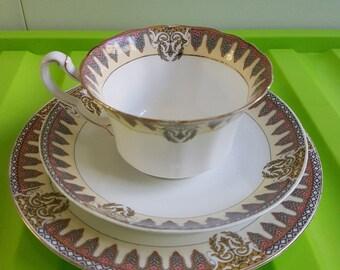 E. Hughes Staffordshire tea cup trio
