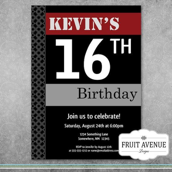 Teenage Boy Birthday Party Invitation Printable