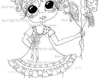 INSTANT DOWNLOAD Digital Digi Stamps Big Eye Big Head Dolls Digi IMG873 Butterfly Balloons  My Bestie By Sherri Baldy