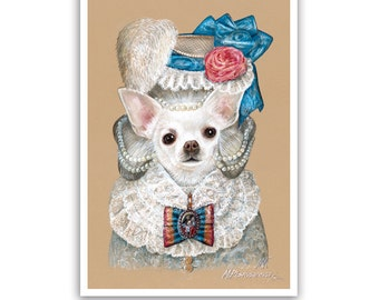 Chihuahua Art Print / Lady Pearl / Dog Lover Gifts & Wall Art / Dog Portraits by Animal Century