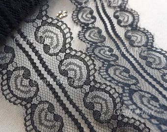 2 m 50 mm wide Black Lace