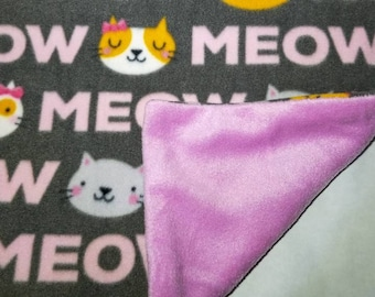Fleece pink meow Catnip Blanket