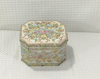 """Vintage Meister Made in Brazil Octagon Metal Floral Tin w/ hinged lid - 5-3/8"""" X 4-1/4"""" X 3-3/4"""" - FREE SHIPPING!"""