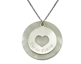 Pearl Necklace and heart to personalize - openwork Medal Silver