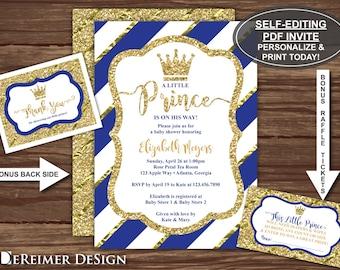Little Prince Baby Shower Invitation, Prince Invite, Royal Blue, Gold Self-Editing PDF Invite, Thank You Cards, BONUS Diaper Raffle Ticket