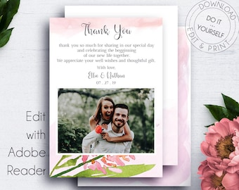 Wedding Thank You PDF Photocard, Greeting Cards, Thank You Card, Printable Thank You, Wedding Thank Yous, Photo Card Template