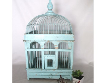 Bird Cage, Vintage Wooden Victorian Style Finch Birdcage Asian Drawing Room Decor, Cottage Cabin Porch Decorative Shabby Chipped Paint