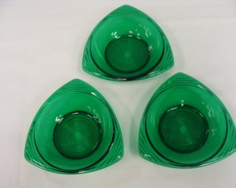 Vintage Forest Green Glass Bowls Circa 1940