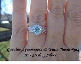 Genuine Aquamarine & White Topaz Ring Size 7 Or 8