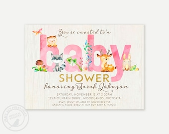 Pink Woodland Baby Shower Invitation,  Baby Boy Shower invitation, Invitation, Baby Girl Shower | Printable Invitation  0498pink