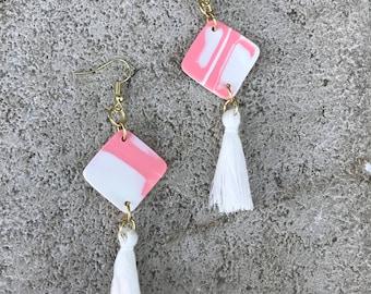 Pink marble square Tassel Earrings