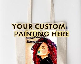 custom tote bag-personalized tote bag-tote bag photo-tote bag painting-custom bridesmaid gift -custom bridesmaid tote bag-