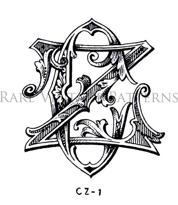 32 Fancy Vintage MONOGRAMS STENCIL Jpg White And Png