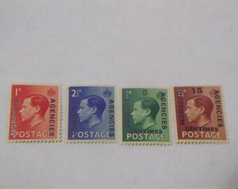 Four 1936 Edward VIII Great Britian Morocco Agencies Stamps