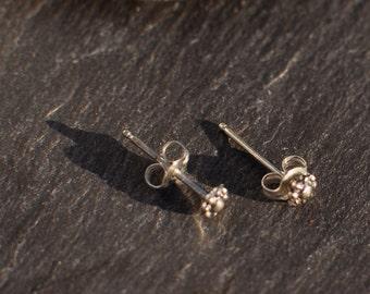 Flower Bud Sterling Silver Post Earrings