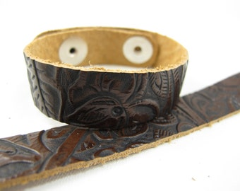 "Tooled Brown Black Leather Cuff Bracelet 5/8"" Wide, #57-85841615"