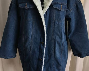 Sherpa Lined Denim Jacket / Plus Size Jacket / Size XL-XXL