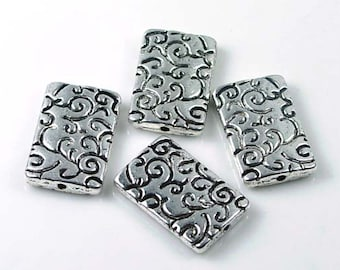 4 Antique Silver Pewter Large Rectangle Focal Beads 23x15mm (p106)