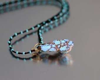 Turquoise Pendant Necklace - Kasakhstani Turquoise - Turquoise Necklace - 18 Inches