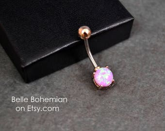Belly Button Ring Opal Pink Opal Rose Gold Opal Belly Button Ring Opal Belly Jewelry 14G Opal Navel Ring