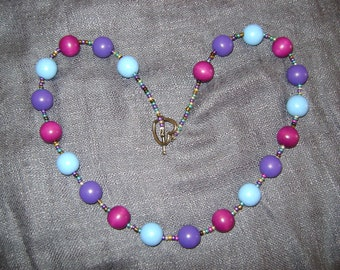 Violet, Purple and Pale Blue Wooden Beaded Necklace