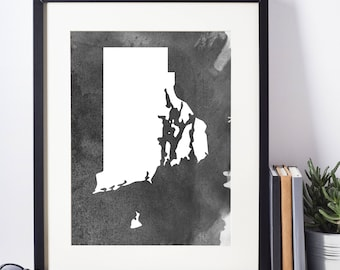 Home Decor, Wall Art, Watercolor, Rhode Island Black and White Art Print, Modern Art,  Digital Download, Rhode Island Wall Decor