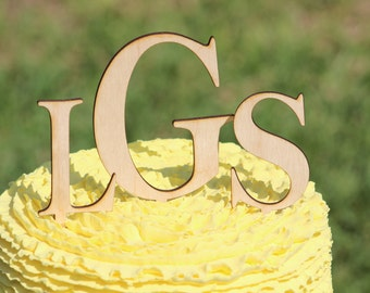 Rustic Monogram Wedding Cake topper - Wooden cake topper - Personalized Cake topper